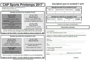 CAP SPORTS PRINTEMPS 2017